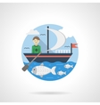 Boy on sail boat color detailed icon vector image