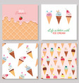 Ice cream cute cards and seamless pattern set vector image