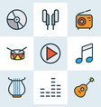 audio colored outlines set collection of set vector image