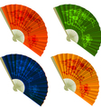 Set traditional Folding Fans with flowers vector image vector image