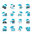 insurance and business icons vector image vector image