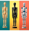 Artists wooden dummy on colorful background vector image vector image