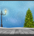 christmas tree and lamp post on winter background vector image