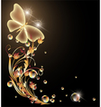 Golden ornament and butterfly vector image