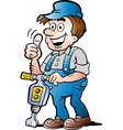 Hand-drawn of an Happy Construction Worker vector image