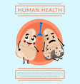 human health poster with lung character vector image