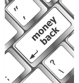 Keyboard keys with money back text on button vector image