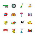 race icons set cartoon vector image