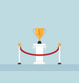 winner trophy on poduim business success concept vector image