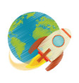drawing earth world rocket flying space vector image