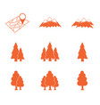 map with muntain and forest icons set vector image