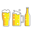 glass mug and a bottle of beer vector image