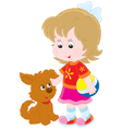 Girl and pup vector image vector image