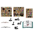 Books education and library objects vector image vector image