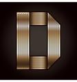 Letter metal gold ribbon - D vector image
