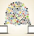 Abstract speech cloud and two connected computers vector image