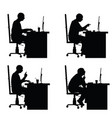 Man silhouette sitting with laptop in office vector image