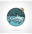 Night seascape flat design icon vector image