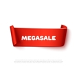Red curved paper ribbon banner with rolls and text vector image