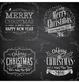 merry christmas emblems chalk2 vector image