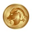 Capricorn gold medallion drive vector image