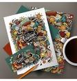 Cartoon doodles cinema corporate identity vector image