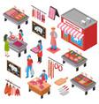 butcher shop isometric set vector image