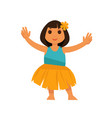 girl from hawaii in straw skirt and blue shirt vector image