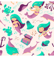 marine seamless background with mermaid vector image