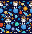 seamless pattern with dog astronaut in space vector image