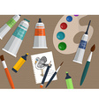 Set of drawing and painting tools on the table vector image