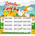 2017 Calendar Starts Sunday Chicken In Forest vector image