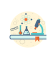 chemical engineering background with flat icon of vector image vector image