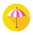 Flat Sun Summer Umbrella Circle Icon with Long vector image