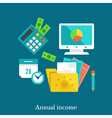 Annual report and income flat concept vector image