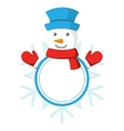 Christmas Label Icon Flat with Snowman Isolated on vector image