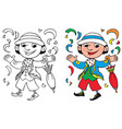 coloring happy carnival mask vector image