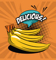 delicious bananas pop art icons vector image