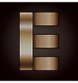 Letter metal gold ribbon - E vector image