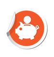 piggy bank icon orange label vector image
