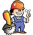 Hand-drawn of an Happy Mechanic or Handyman vector image