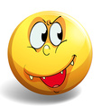 Silly face on yellow badge vector image vector image