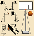 Basketball hoop and ball silhouette vector image
