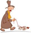 Crazy Man Taking His Dog for Walk Cartoon vector image