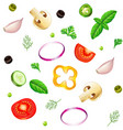 sliced vegetables seamless background isolated vector image
