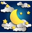 Moon and stars in the clouds vector image
