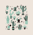 hand drawn cactus card vector image