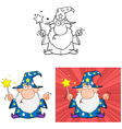 Angry Wizard With Magic Wand Collection vector image vector image