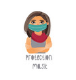 young girl wearing protection mask scarf vector image