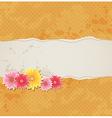 Orange vintage background with flowers vector image